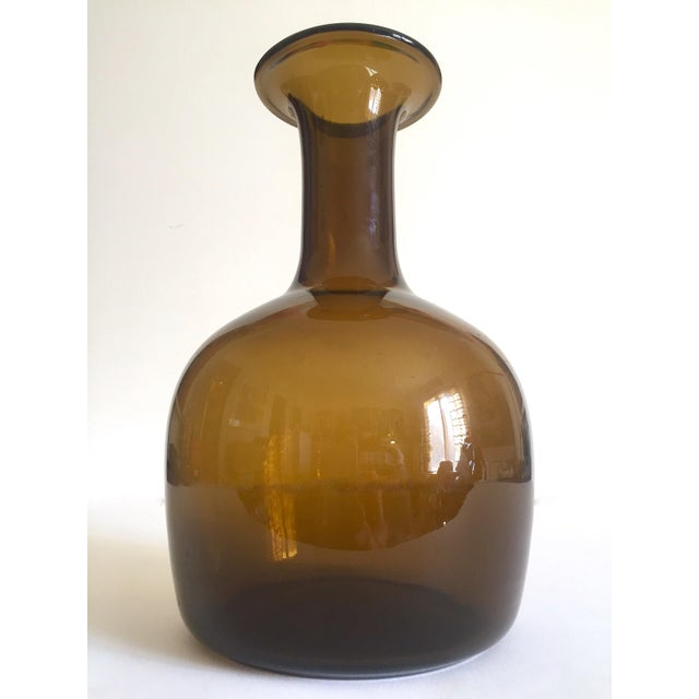 Holmegaard Kastrup Rare Vintage Mid Century Danish Modern Burnt Umber Smoke Brown Hand Blown Art Glass Bottle Vase For Sale In Kansas City - Image 6 of 13