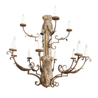 Grand-Scale Italian Wooden Chandelier For Sale