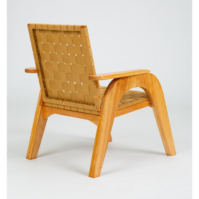 Wood Bauhaus-Style Maple Lounge Chair With Nylon Webbed Seat For Sale - Image 7 of 12