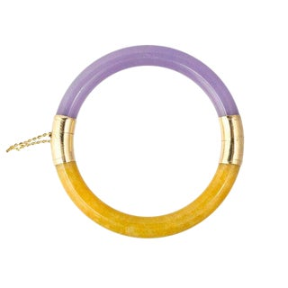 14k Gold Lavender and Amber Color Jade Bangle Bracelet For Sale