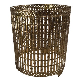 Vintage Gold Metal Hollywood Regency Faux Bamboo Trash Can Cover For Sale