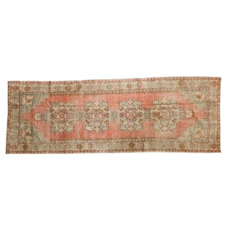 "Vintage Distressed Oushak Rug Runner - 3'2"" X 8'10"" For Sale"