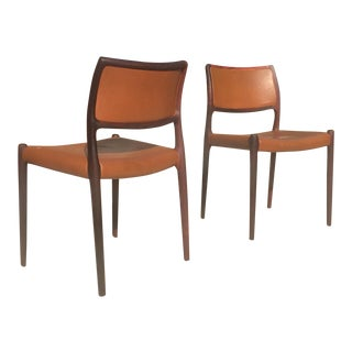 Vintage Danish Modern Niels Moller Model 80 Rosewood and Leather Chairs - a Pair For Sale