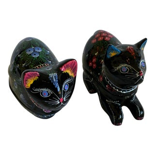 Lacquered Thai Happiness Cat Trinket Boxes, Handcrafted in Mango Wood - a Pair For Sale
