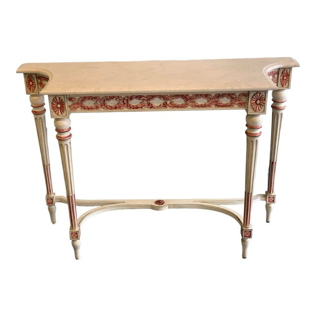 20th Century Hollywood Regency Marble Top Console Table For Sale