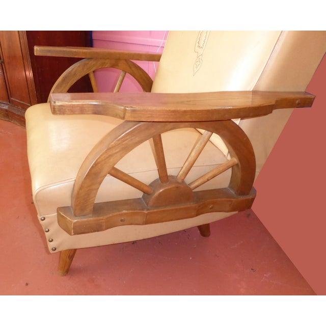 Vintage Western Cowboy Wagon Wheel Sleeper Sofa Rocking Chair A Pair For