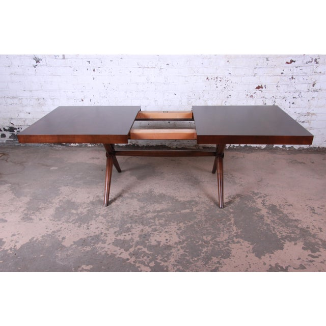 Textile Robsjohn Gibbings for Widdicomb Mid-Century Modern Walnut Dining Set For Sale - Image 7 of 13