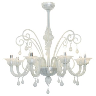 Iridescent Murano Glass Chandelier For Sale