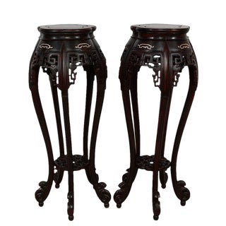 Antique Chinese Rosewood Pedestal Table/Plant Stands - a Pair For Sale