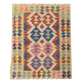 Tribal Multicolored Bright and Woven and Reversible Kilim Entry Rug - 2'7 X 3'8 For Sale