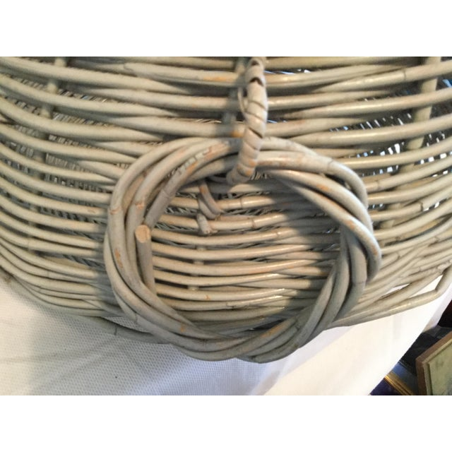 Greige Decorative Basket With Handles For Sale - Image 8 of 10