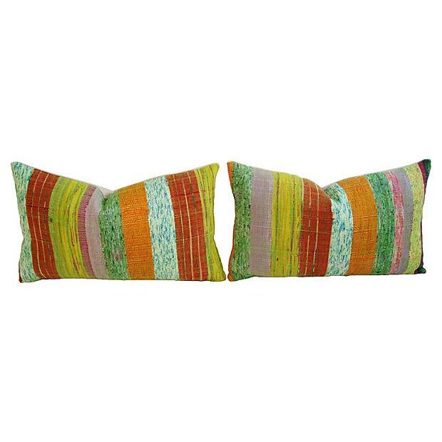 Custom Hand-Looped/Tufted Chindi Pillows - a Pair - Image 6 of 6