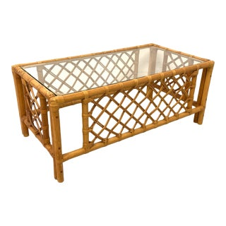 Rattan and Glass Coffee Table For Sale
