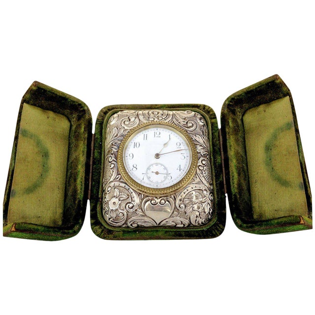 Victorian Silver Embossed Bed Side Clock by Douglas Clock Company - Image 1 of 7