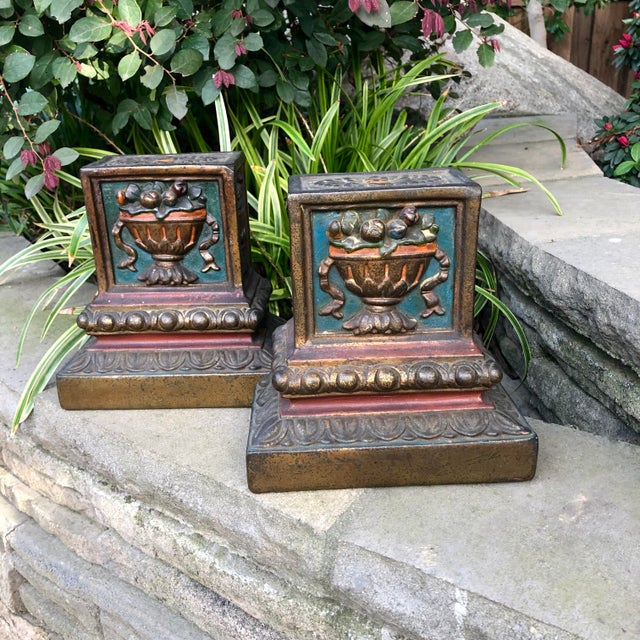 Polychrome Armor Bronze Italian Renaissance Floral Basket Bookends - a Pair For Sale - Image 7 of 7