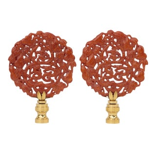 Chinese Carved Stone Lamp Finials - a Pair For Sale