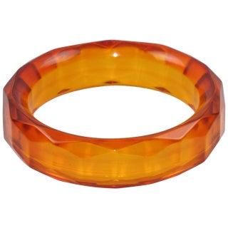 Bakelite Bracelet Bangle Faceted Carved Design Transparent Prystal Orangeade For Sale
