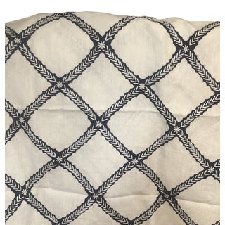 Kravet White & Navy Linen Fabric- 2.25 yards For Sale