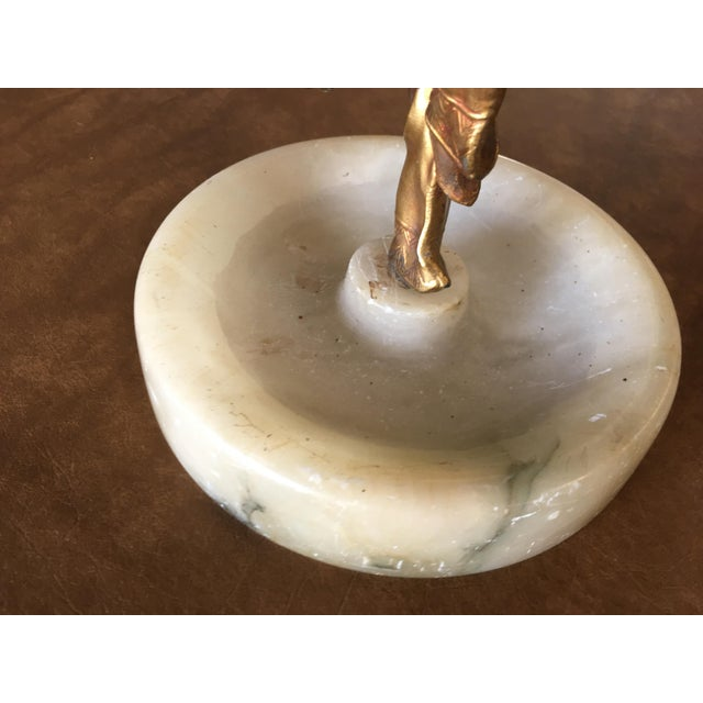 Metal Art Deco Ashtray/Ring Tray With Female Harlequin Dancer Statue by Frankart For Sale - Image 7 of 8