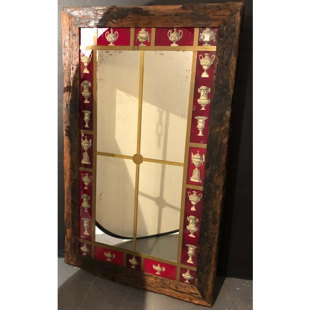 Rustic Italian Wall Mirror With Reverse Painted Classical Vases and Urns For Sale - Image 10 of 13