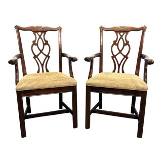 Chippendale Straight Leg Solid Cherry Dining Captain's Armchairs by Cresent Pair For Sale