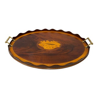 Early 20th Century Flame Mahogany Serving / Bar Tray With Shell Inlay For Sale