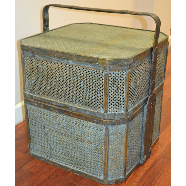 Vintage woven rattan wedding basket from China. Has interior compartments that open up but ideally can be paired up and...