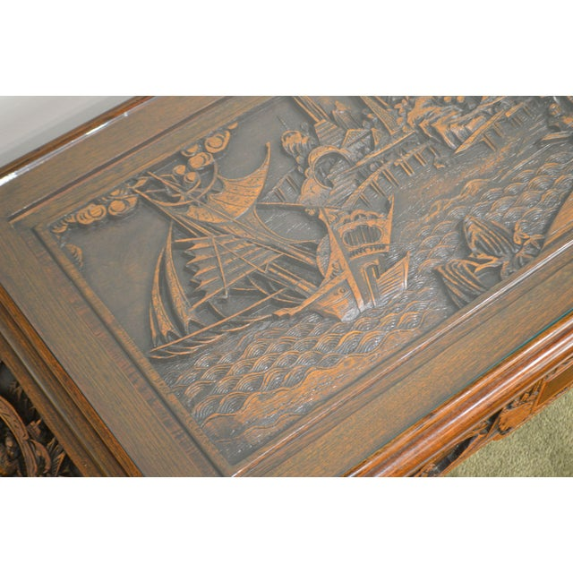 Brown Vintage Oriental Asian Hand Carved Hardwood Coffee Table For Sale - Image 8 of 13