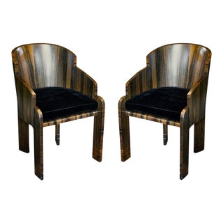 Art Deco Rosewood Barrel Back Tub Chairs, 1940 - a Pair For Sale
