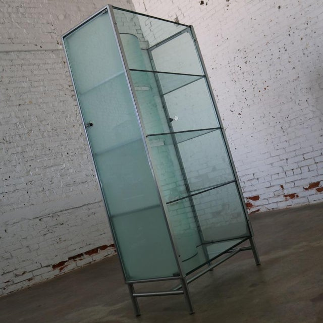 Modern Dual Sided Glass and Metal Enclosed Display For Sale - Image 6 of 13