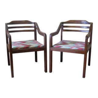 Mid-Century Modern Walnut Accent Chairs - a Pair