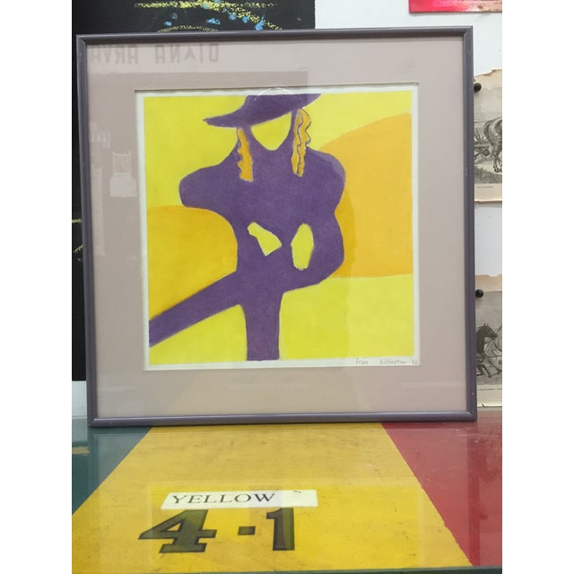 1990s Print - Seated Female Signed & Framed For Sale - Image 5 of 5