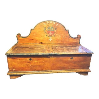 Antique French Painted Bench With Storage Circa 1800s For Sale