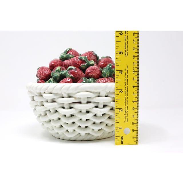 Ceramic Vintage Ceramic Woven Basket and Figural Strawberries For Sale - Image 7 of 8