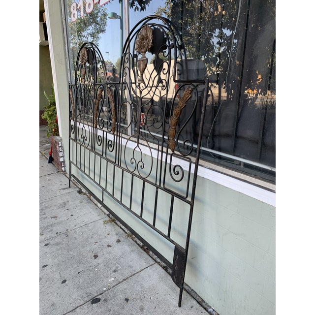 Vintage Hollywood Regency Wrought Iron and Wood Accent Headboard For Sale In Los Angeles - Image 6 of 11