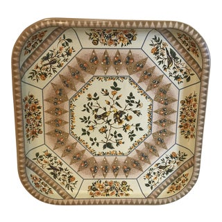 Mid-Century Modern Square Gold Bird Motif Metal Tray For Sale