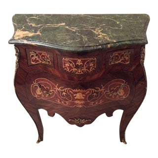 French Louis XV Bombe Commode With Marquetry and Green Marble Top For Sale