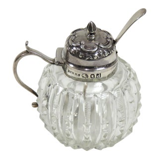 Antiuqe Cut Crystal & Sterling Silver Mustard Pot With Spoon For Sale