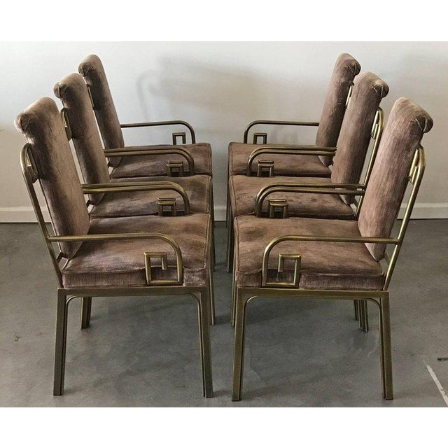 Hollywood Regency 1970s Mastercraft Brass Greek Key Dining Chairs - set of 6 For Sale - Image 3 of 6
