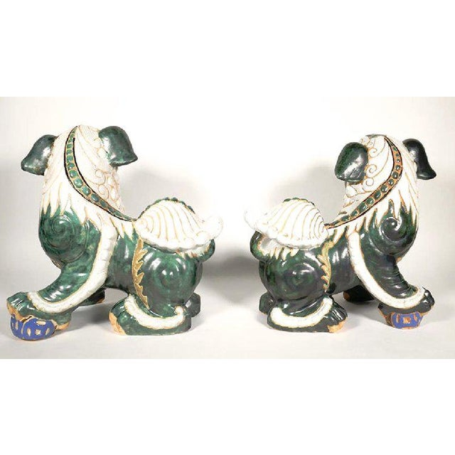 Large Glazed Green and Cream Terra-Cotta Chinese Foo Dogs - a Pair For Sale - Image 6 of 7