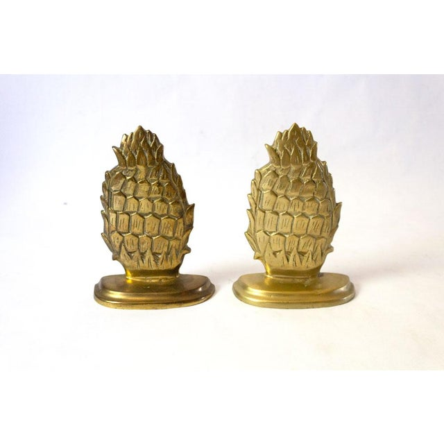 Brass 1970s Vintage Brass Pineapple Bookends - A Pair For Sale - Image 7 of 7