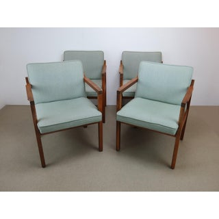 1970s Scandinavian Modern Jens Risom Walnut Dining Arm Chairs - Set of 4 Preview