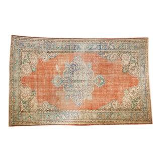 "Vintage Distressed Oushak Carpet - 5'6"" X 9' For Sale"