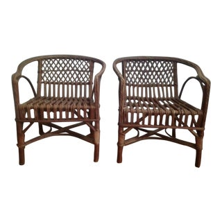 Mid-Century Vintage Rattan Children's Chairs- A Pair For Sale