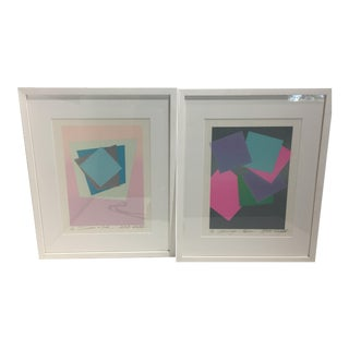 Silk Screen Prints by Japanese Artist Atsuko Okamoto - a Set of 2 For Sale