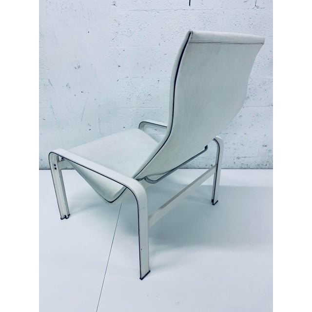 "Metal Matteo Grassi Leather ""Sistina"" Lounge Chair and Foot Stool, Vintage 1980s For Sale - Image 7 of 13"