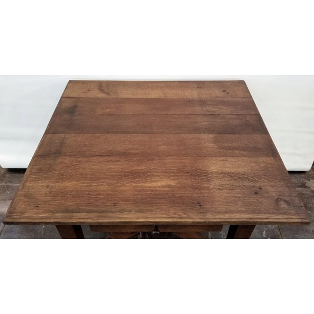 Farmhouse Antique ( 1680-1749 ) Flemish Renaissance Oak Possum Belly Drawer Kitchen Work Table For Sale - Image 3 of 12