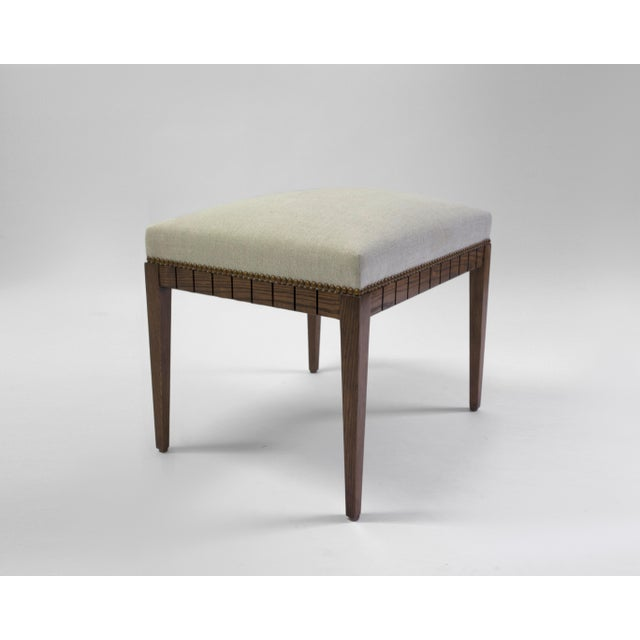 Wood Bench With Solid Seat and Hand-Carved Detail on Frame For Sale - Image 4 of 7