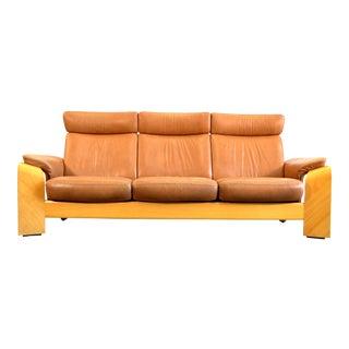 1970s Vintage Ekornes Norway Leather Sofa For Sale