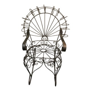 Vintage Wrought Metal Child's Peacock Rocking Chair For Sale